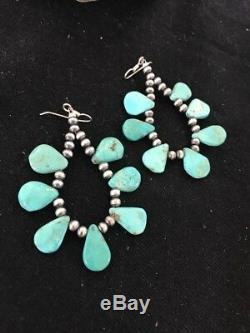 Navajo Native American Blue Cluster Turquoise Sterling Silver Earrings Gift