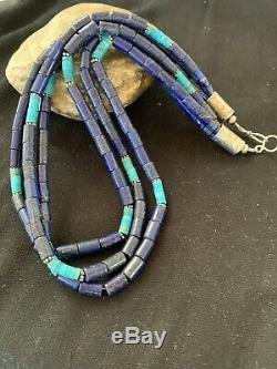Navajo Native American Sterling Silver Lapis 3S Turquoise Necklace 21 257 Gift