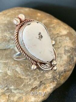 Navajo Native American Sterling Silver WHITE Buffalo TURQUOISE Ring S9 Gift 683