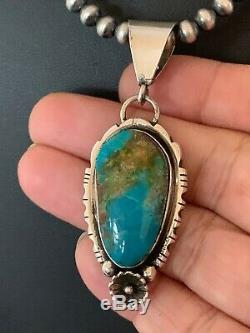Navajo Pearls Sterling Silver Blue Kingman Turquoise Necklace Pendant 4691 Gift