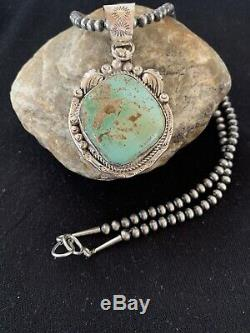 Navajo Pearls Sterling Silver Green Royston Turquoise Necklace Pendant 355 Gift