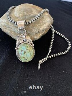 Navajo Pearls Sterling Silver Green Royston Turquoise Necklace Pendant 357 Gift