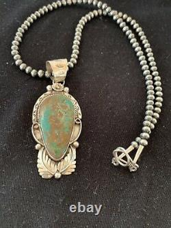 Navajo Pearls Sterling Silver Green Royston Turquoise Necklace Pendant Gift 393