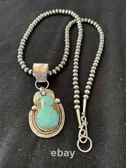 Navajo Pearls Sterling Silver Green Royston Turquoise Necklace Pendant Gift 945