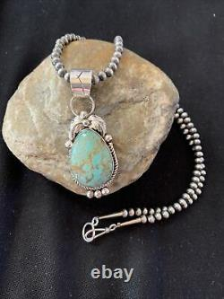 Navajo Pearls Sterling Silver Green Royston Turquoise Necklace Pendant Gift 946
