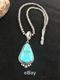 Navajo Pearls Sterling Silver Morenci Turquoise Necklace Pendant Signed Gift49