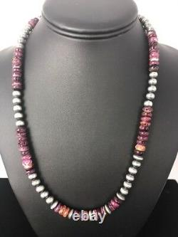 Navajo Pearls Sterling Silver Purple Spiny Oyster 8 mm Bead Necklace Gift 366