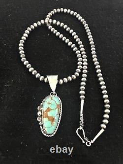 Navajo Pearls Sterling Silver Turquoise #8 Necklace Pendant Yazzie Gift 8405 Men