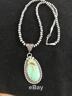 Navajo Pearls Sterling Silver Turquoise #8 Necklace Pendant Yazzie Gift55