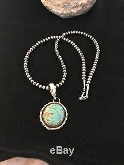 Navajo Pearls Sterling Silver Turquoise #8 Necklace YAZZIE Pendant 8237 Gift