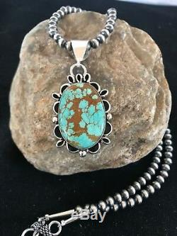 Navajo Pearls Sterling Silver Turquoise # 8 Necklace Yazzie Pendant 1346 Gift