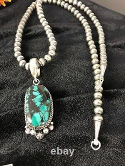 Navajo Pearls Sterling Silver Web Turquoise Necklace Pendant Signed Gift59