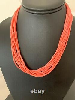Navajo Pink Coral 10S Sterling Silver Tube Heishi Bead Necklace 17 4709 Gift