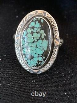 Navajo Spider Web Turquoise Ring Set Sterling Silver Size 9 Gift 2734