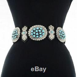 Navajo Stamped Silver CONCHO BELT Sleeping Beauty Turquoise Cluster GIFT
