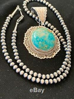 Navajo Sterling Silver Blue Royston TURQUOISE Necklace Pendant Set 3069 Gift