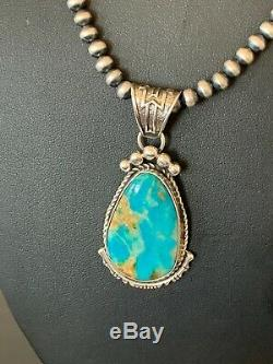 Navajo Sterling Silver Blue Royston Turquoise Necklace Pendant Yazzie 4630 Gift