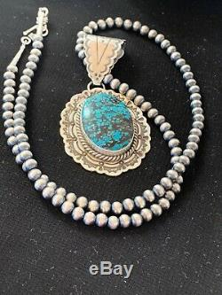 Navajo Sterling Silver Blue Spiderweb TURQUOISE Necklace Pendant Set 3064 Gift