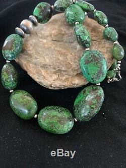 Navajo Sterling Silver Graduated Green Nugget Turquoise Necklace Gift 21 in 2720