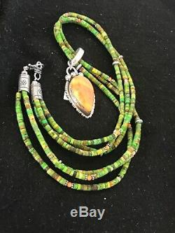Navajo Sterling Silver Green Turquoise Spiny Oyster Necklace Pendant Gift 3431