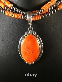 Navajo Sterling Silver Orange Spiny Oyster Necklace Pendant Yazzie Gift 8682