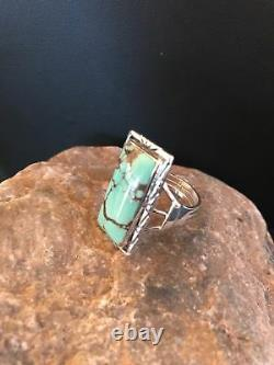 Navajo Sterling Silver Spider Web Turquoise Ring Size 9 Gift A1280