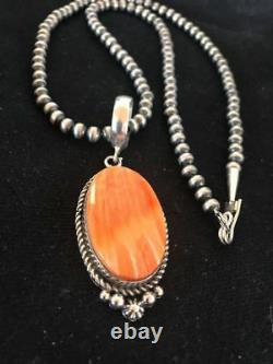 Navajo Sterling Silver Spiny Oyster Necklace Mens Womens Pendant Gift S410