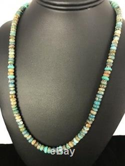 Navajo Sterling Silver Turquoise Agate Picture Jasper Men's Necklace Gift