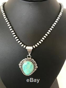 Navajo Sterling Silver Turquoise Necklace Pendant Pearls Yazzie 1268 Gift