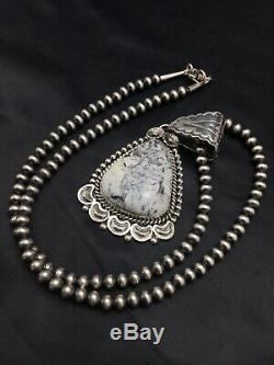 Navajo Sterling Silver White Buffalo Turquoise Necklace Pendant 3181 Xmas Gift S