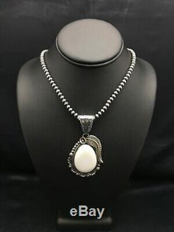 Navajo Sterling Silver White Buffalo Turquoise Necklace Pendant Set 1042 Gift