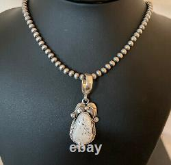 Navajo Sterling Silver White Buffalo Turquoise Necklace Pendant Set Gift 01352