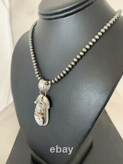 Navajo Sterling Silver White Buffalo Turquoise Necklace Pendant Set Gift 707