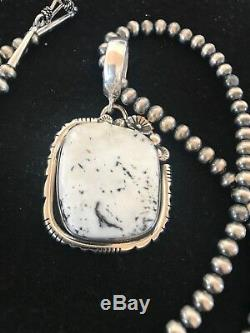Navajo Sterling Silver White Buffalo Turquoise Necklace Pendant YAZZIE 8401 Gift