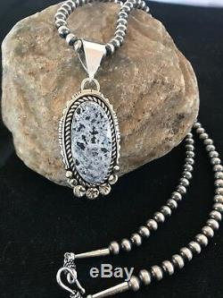 Navajo Sterling Silver White Buffalo Turquoise Necklace Pendant Yazzie Gift 1263