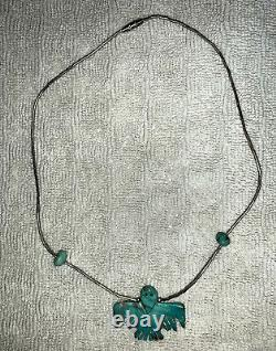 Navajo Thunderbird Fetish Natural Turquoise and Silver Necklace NEW Great Gift