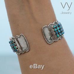 New 925 Sterling Silver Cuff Blue Opal Women Bracelet Bangle Gift Jewelry