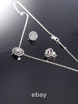 New! Authentic PANDORA Double Halo Silver Necklace Earrings Gift Set s925 ALE
