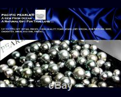 New Genuine Tahitian Black Pearl Silver Ring 11mm Pacific Pearls Gifts for Wife