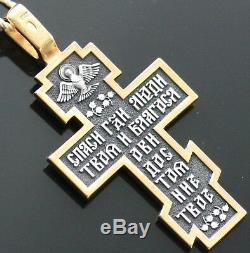 New Russian Jewelry Silver 925 Gold. 999 Crucifix Orthodox Spiritual Gift Blessed