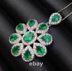 Noble Romantic Natural Emerald Pendant S925 Silver + Chain Wedding Birthday Gift