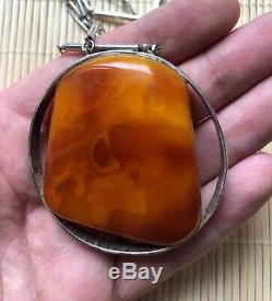 Old Baltic Amber Silver pendant natural vintage jewelry gem Bernstein Rare Gift