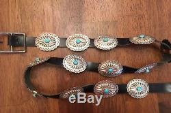 Old Pawn Vtg Native American Concho Belt Turquoise Jewelry GIFT Sterling Silver