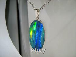 Opal Pendant Genuine BIG Australian Silver Jewelry 18.4ct Necklace Gem Gift D68