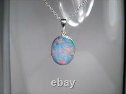 Opal Pendant Genuine Natural Australian Silver Jewelry 9.15ct Necklace Gift C96