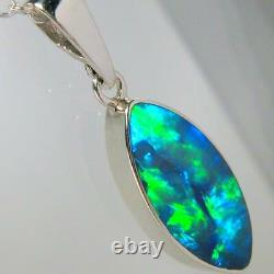 Opal Pendant Genuine Rare Australian Silver Jewelry 5.1ct Necklace Gift D14