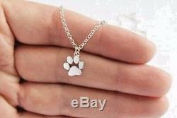 PAW Pendant NECKLACE Pet Dog Charm Cat Animal Tiny Silver Jewelry Gift