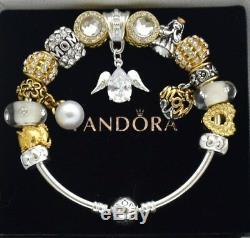 Pandora Charm Bracelet Silver GUARDIAN ANGEL Gold Family Czech European Charms