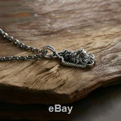 Pendant Exaggerated Lion head 100% Real 925 sterling silver gift necklace Sword