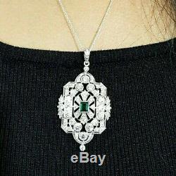 Pendant Green Emerald Cut Art Deco 925 Sterling Silver Best Gift Jewelry women